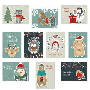 Jokaisen kortin kansi on kuvitettu erilaisella eläinpiirustuksella.