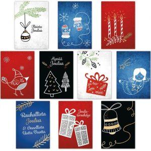 Kymmenen erilaista korttia.