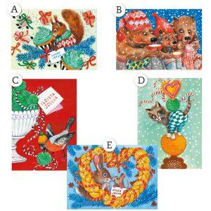 Valitse viidestä kuva-aiheesta korttisi kuva.