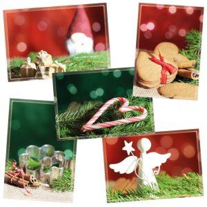 Viisi erilaista joulukorttia yhdessä paketissa.