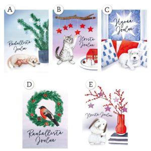 Korttisarjassa on viisi erilaista korttia. Valitse tilauksen yhteydessä kuva-aihe.