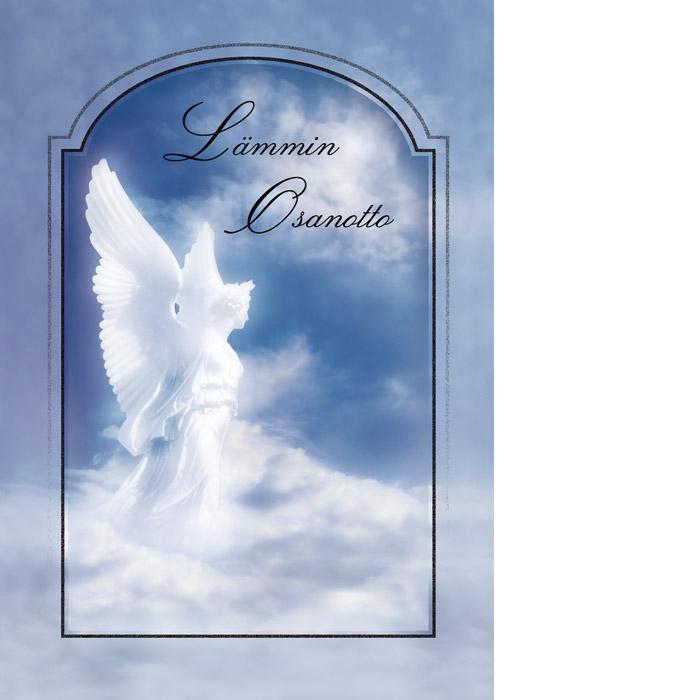Kannessa sinisellä taustalla pilvien päällä valkoisen enkelin hahmo ja tekstinä Lämmin osanotto.