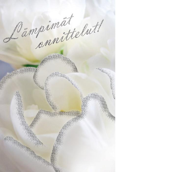 Kannessa valkoinen kukka, jossa on hopeareunukset ja tekstinä Lämpimät onnittelut!