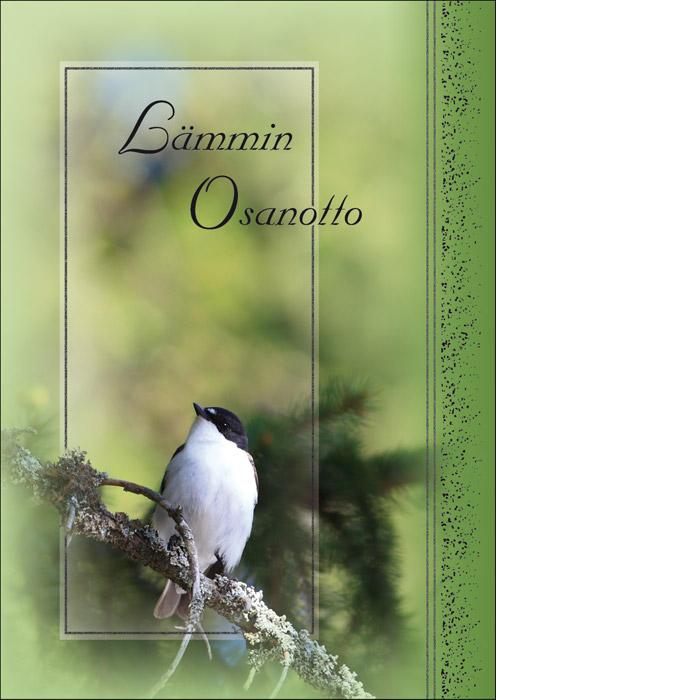 Kannessa vihreällä taustalla oksalla istumassa pieni musta-valkoinen lintu. Tekstinä Lämmin osanotto.