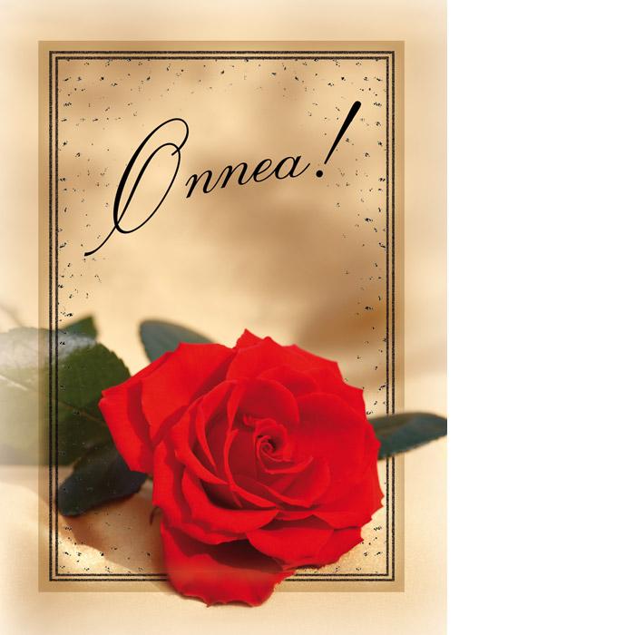 Kannessa iso punainen ruusu kellertävällä taustalla ja mustalla teksti Onnea!