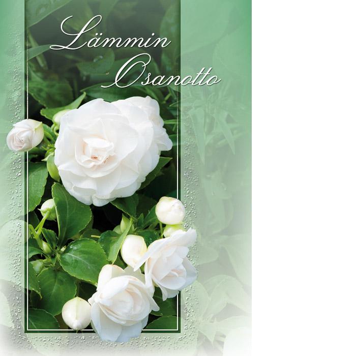 Kannessa vihreä tausta, valkoisia ruusuja ja valkoinen teksti Lämmin osanotto.